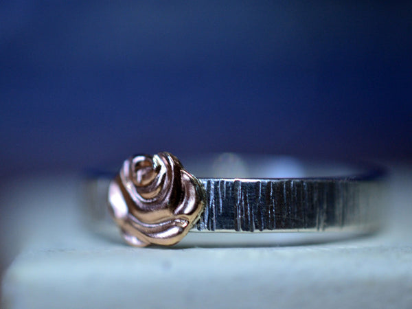 Handmade Sterling Silver Tree Bark 14K Gold Rose Ring