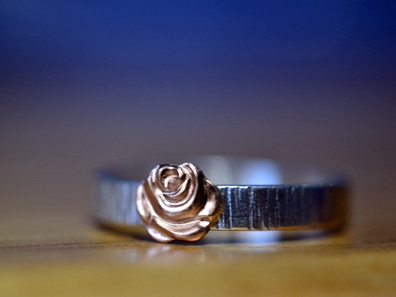 Handmade Sterling Silver Tree Bark & 14K Gold Rose Ring
