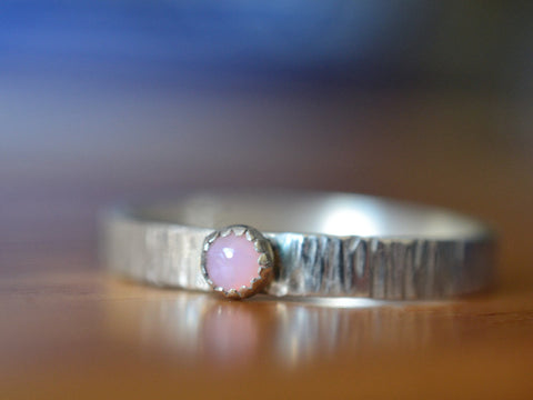 Rustic Sterling Silver Tiny Pink Opal Engagement Ring