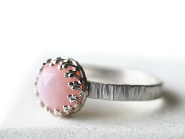 Handmade Sterling Silver Tree Bark & Pink Opal Engagement Ring