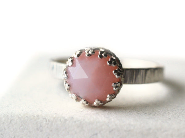 Rose Cut Pink Opal & Silver Tree Bark Ring