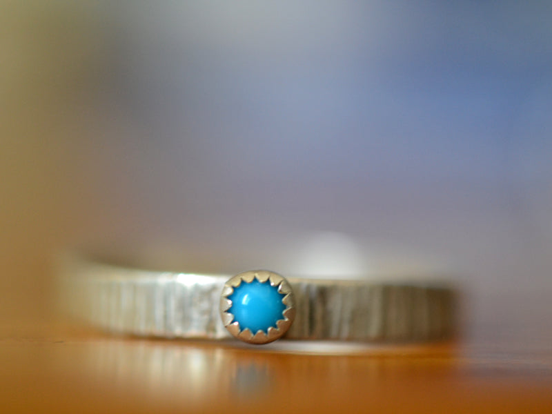 Simple Sterling Silver & Tiny Turquoise Wedding Band