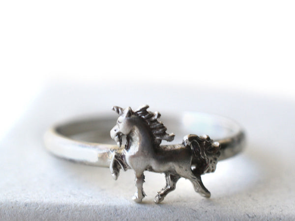 Sterling Silver Unicorn Charm Ring