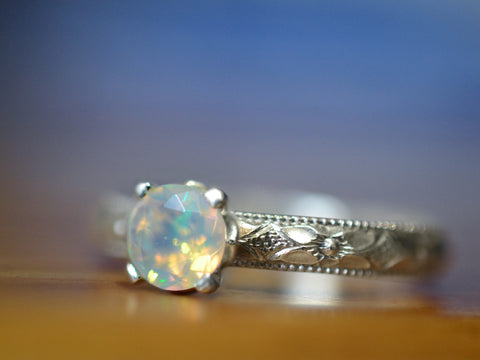 Handmade Floral Silver Welo Opal Engagement Ring