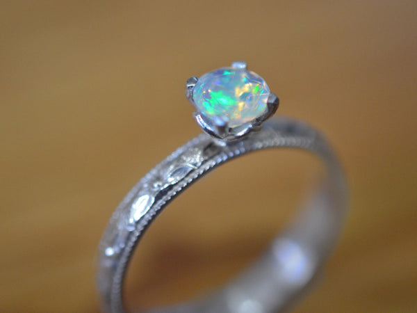 Handmade Floral Silver Ethiopian Opal Engagement Ring