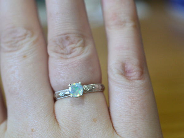 Personalised Victorian Style Welo Opal Engagement Ring