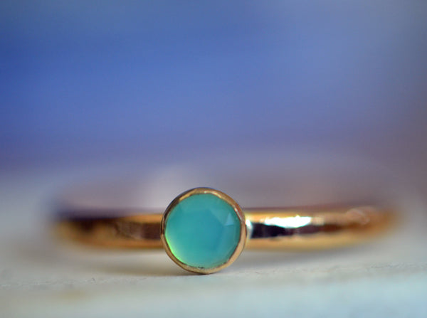 Simple 14K Gold Peruvian Blue Opal Engagement Ring