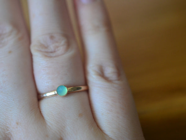 Dainty 4mm Blue Opal Ring in 14K Yellow Gold