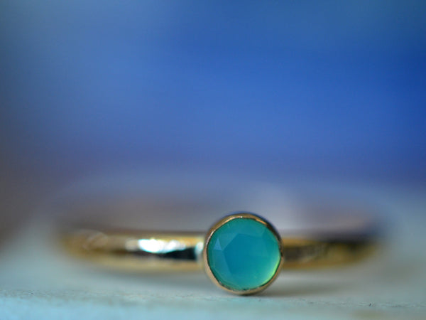 Handmade Peruvian Blue Opal Ring in 14K Gold