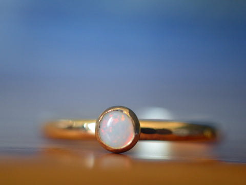 Simple 14K Gold 4mm White Opal Engagement Ring