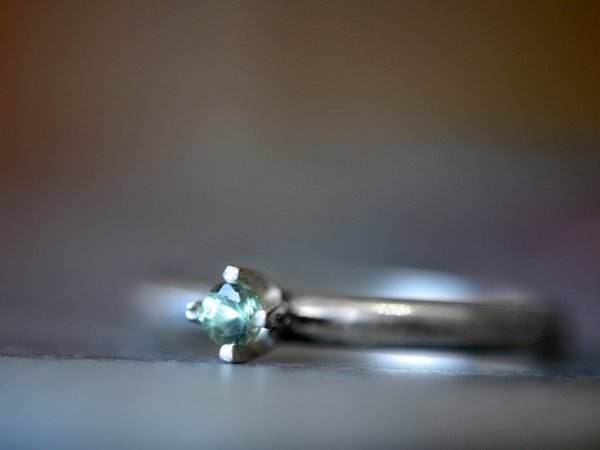 Minimalist Natural Green Sapphire Engagement Ring in Silver