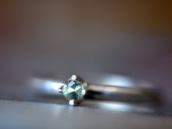 Women's 3mm Green Sapphire Engagement Ring in Silver