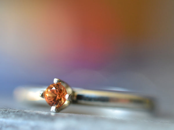 Women's Dainty Orange Sapphire Engagement Ring in Silver