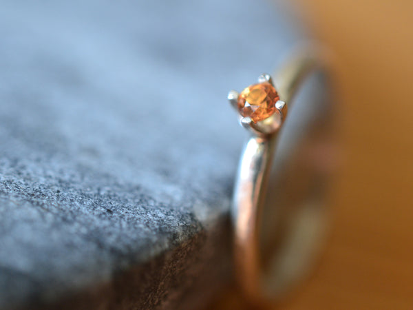 Simple Orange Sapphire Engagement Ring in Sterling Silver