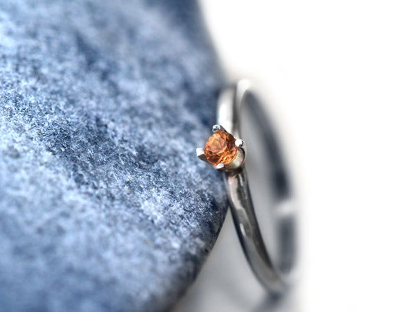 Women's Engravable Orange Sapphire Engagement Ring in Silver