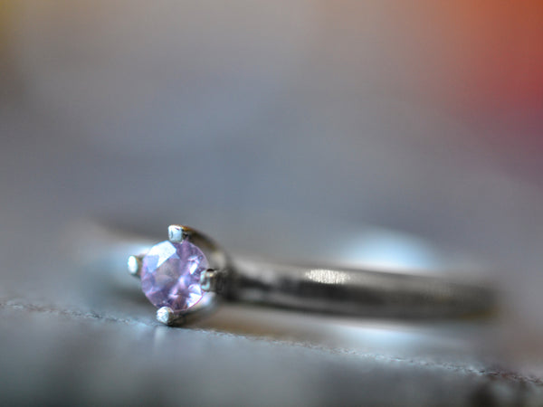 Minimalist Tiny Pink Sapphire Engagement Ring in Sterling Silver