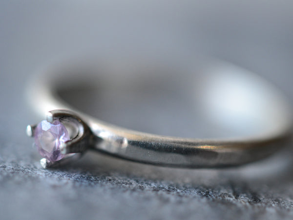 Simple Sterling Silver & 3mm Pink Sapphire Engagement Ring