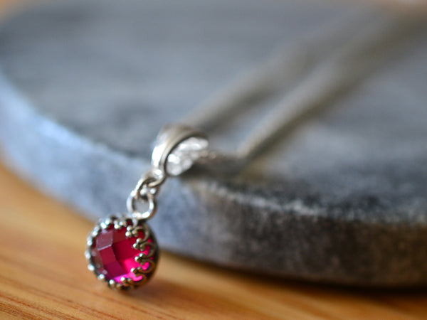 Sterling Silver Bezel Set Pink Ruby Pendant With Chain
