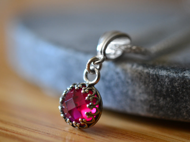 Dainty 8mm Lab Created Ruby Pendant With Sterling Silver Chain