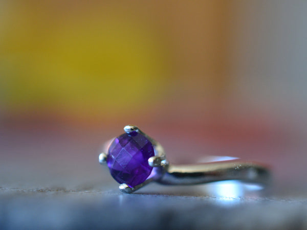 Simple Amethyst Solitaire Engagement Ring in Sterling Silver