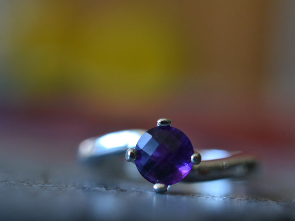 Minimalist Purple Amethyst Engagement Ring in Sterling Silver