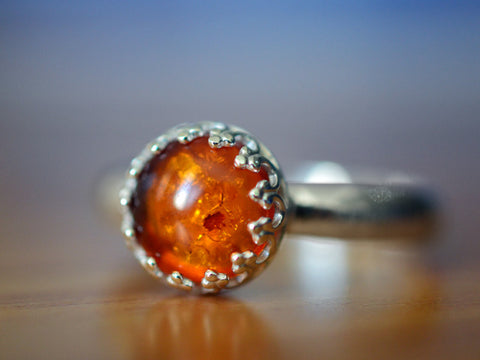Handmade Sterling Silver & Baltic Amber Ring