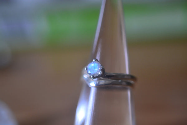 Minimalist Blue Moonstone Wedding Ring Set in Sterling Silver