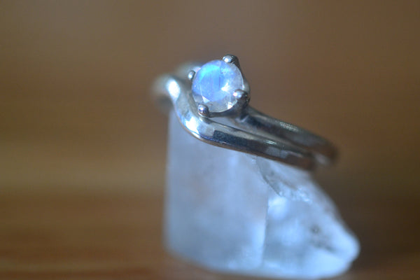 Simple Blue Moonstone Bridal Ring Set in Sterling Silver
