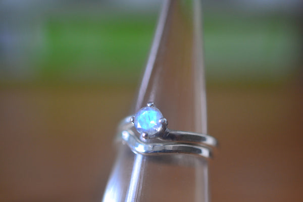 Women's Blue Moonstone Wedding Band Set in Sterling Silver