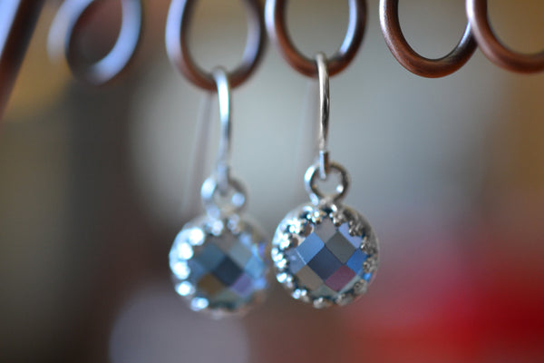 Handmade Dangly Blue Spinel Gemstone Earrings in Sterling Silver