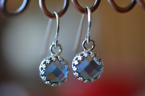 Classic Bezel Set Blue Spinel Dangle Earrings in Sterling Silver