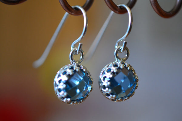 8mm Round Checkerboard Cut Blue Spinel Drop Earrings in Silver
