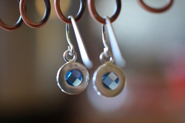 Open Backed Bezel Set Blue Spinel Crystal Earrings in Sterling