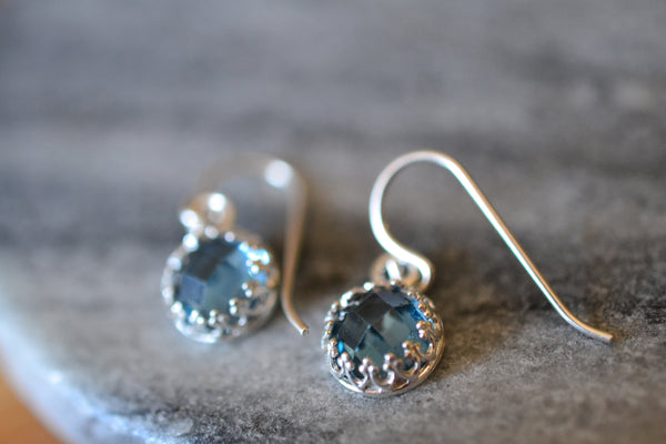 Minimalist 8mm Round Blue Spinel Stone Earrings in Silver