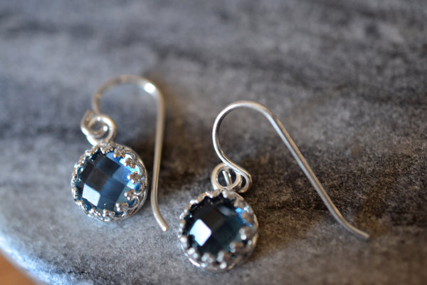 Simple Sterling Silver Bezel Set Blue Spinel Crystal Earrings
