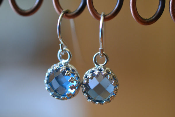 Sterling Silver Bezel Set Blue Spinel Gemstone Earrings