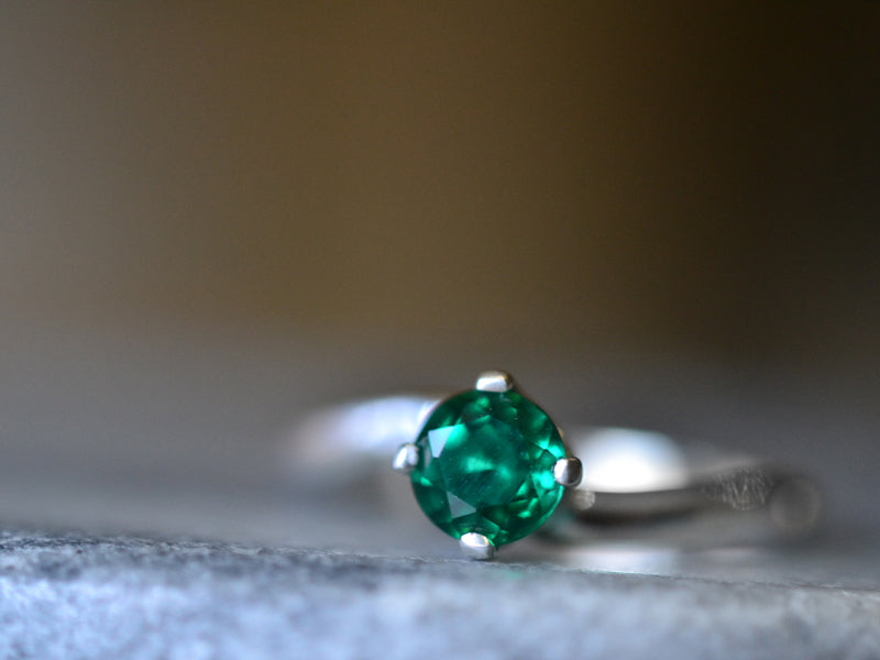 Simple Emerald Engagement Ring in Sterling Silver