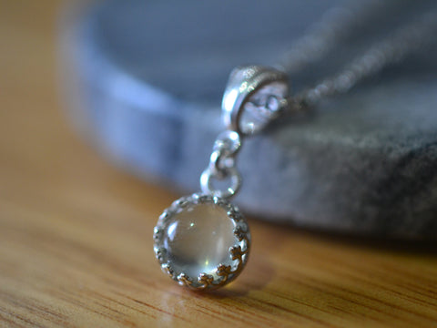 Natural Green Moonstone Crystal Necklace With Sterling Silver Chain