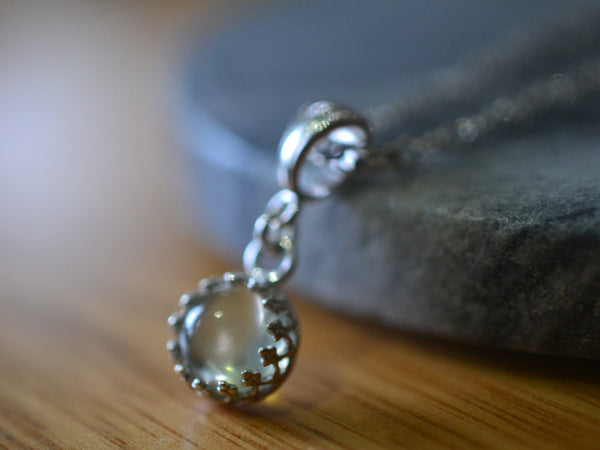 Natural Green Moonstone Cabochon Pendant in Sterling Silver