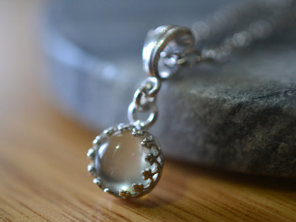 Minimalist Green Moonstone Pendant With Sterling Silver Chain
