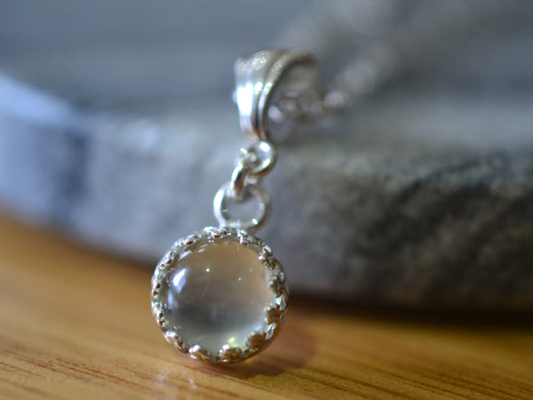 8mm Green Moonstone Crystal Pendant in Sterling Silver Bezel