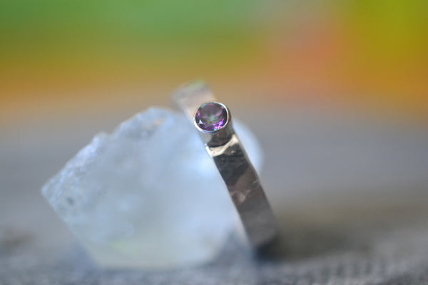 Simple Sterling Silver Band With Tiny Mystic Topaz Crystal