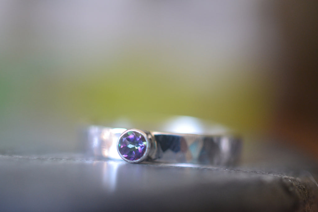 Tube Set Tiny Mystic Topaz Promise Ring in Sterling Silver
