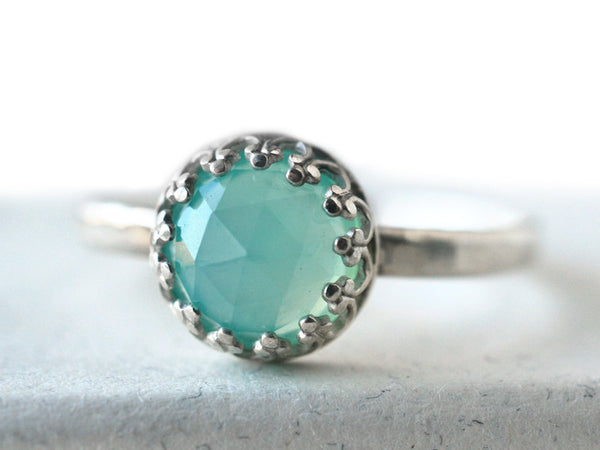 Peruvian Blue Opal Engagement Ring in Sterling Silver