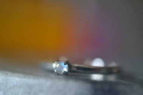 Simple Tiny Rainbow Moonstone Promise Ring For Women