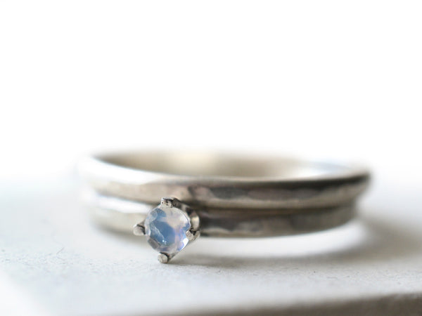 Handmade Personalized Rainbow Moonstone Wedding Ring Set