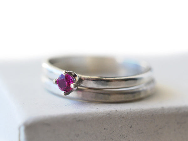 Simple Ruby Wedding Set in Sterling Silver