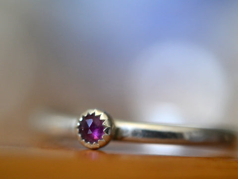 Simple Sterling Silver & Rhodolite Garnet Stack Ring