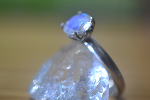 Faceted Rainbow Moonstone Solitaire Engagement Ring in Silver