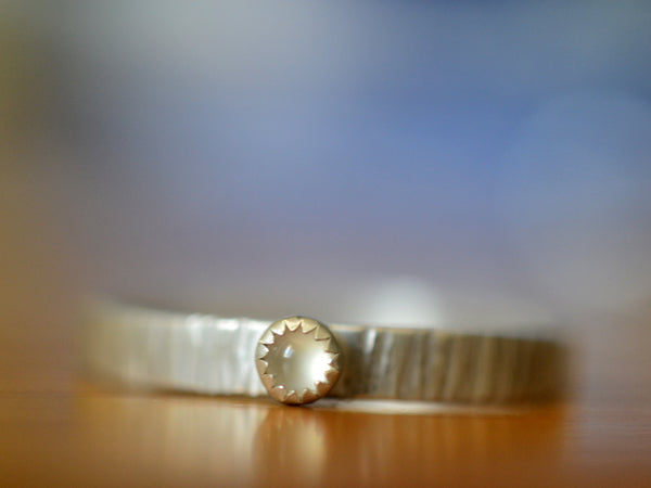 Simple Silver Tree Bark White Moonstone Wedding Band